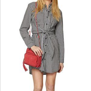 Euc Sanctuary gingham tie front shirt dress L